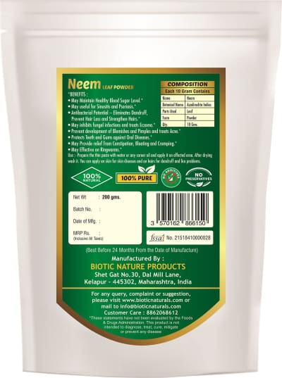 Azadirachta indica Powder - Herbal Powder for skin care acne ulcers leprosy and for infections viral diseases