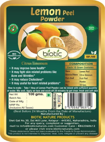Citrus limon Powder - Herbal powder for anti cancer properties and for anti microbial anti bacterial anti fungal