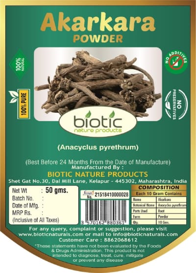 Anacyclus pyrethrum - Ayurvedic Powder for brain booster and for anticonvulsant