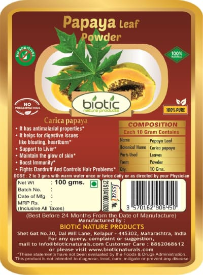 Carica papaya Powder - Herbal powder for viral infections and for skin problems treat pimples acne