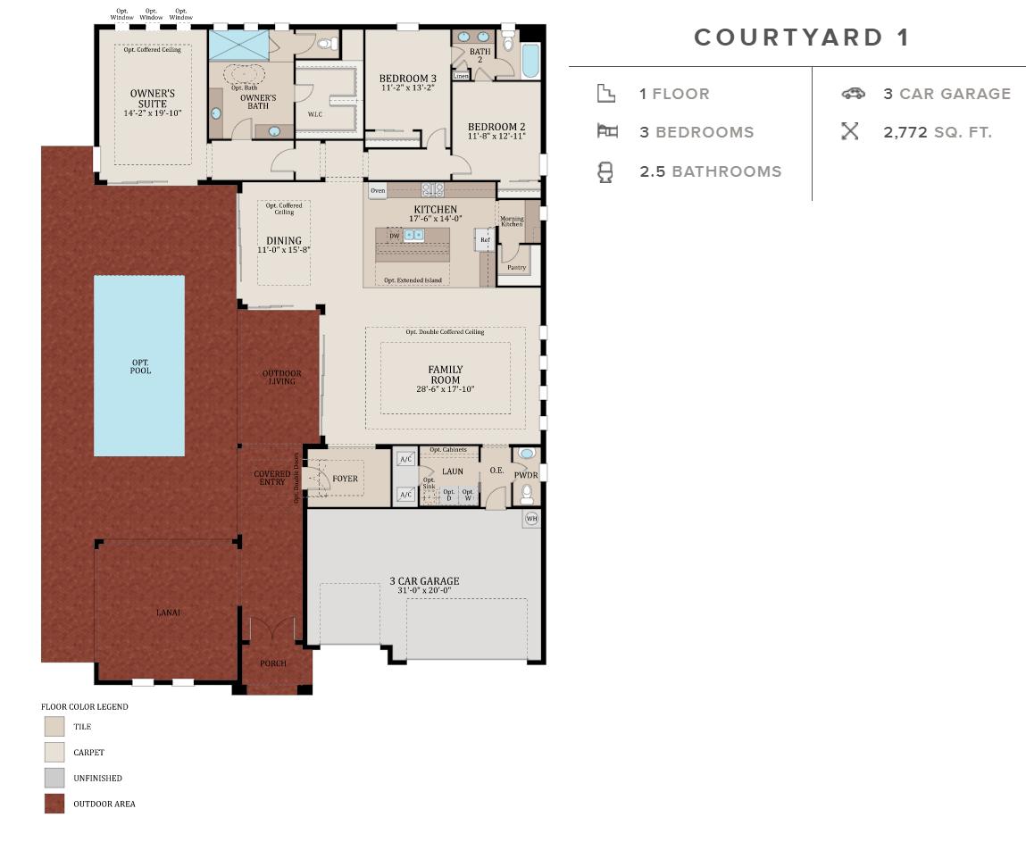 Courtyard model home floor plan