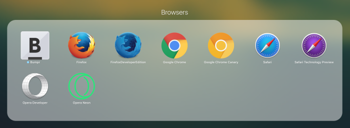 screenshot of several browser icons in a Launchpad folder on macOS
