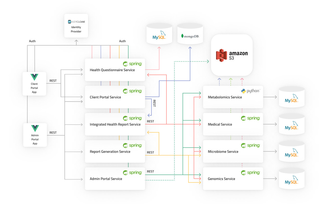 Architecture diagram of Medipredict's software including Spring Boot, S3, MySQL and Vue