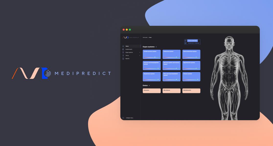 Medipredict logo and a screenshot of their application