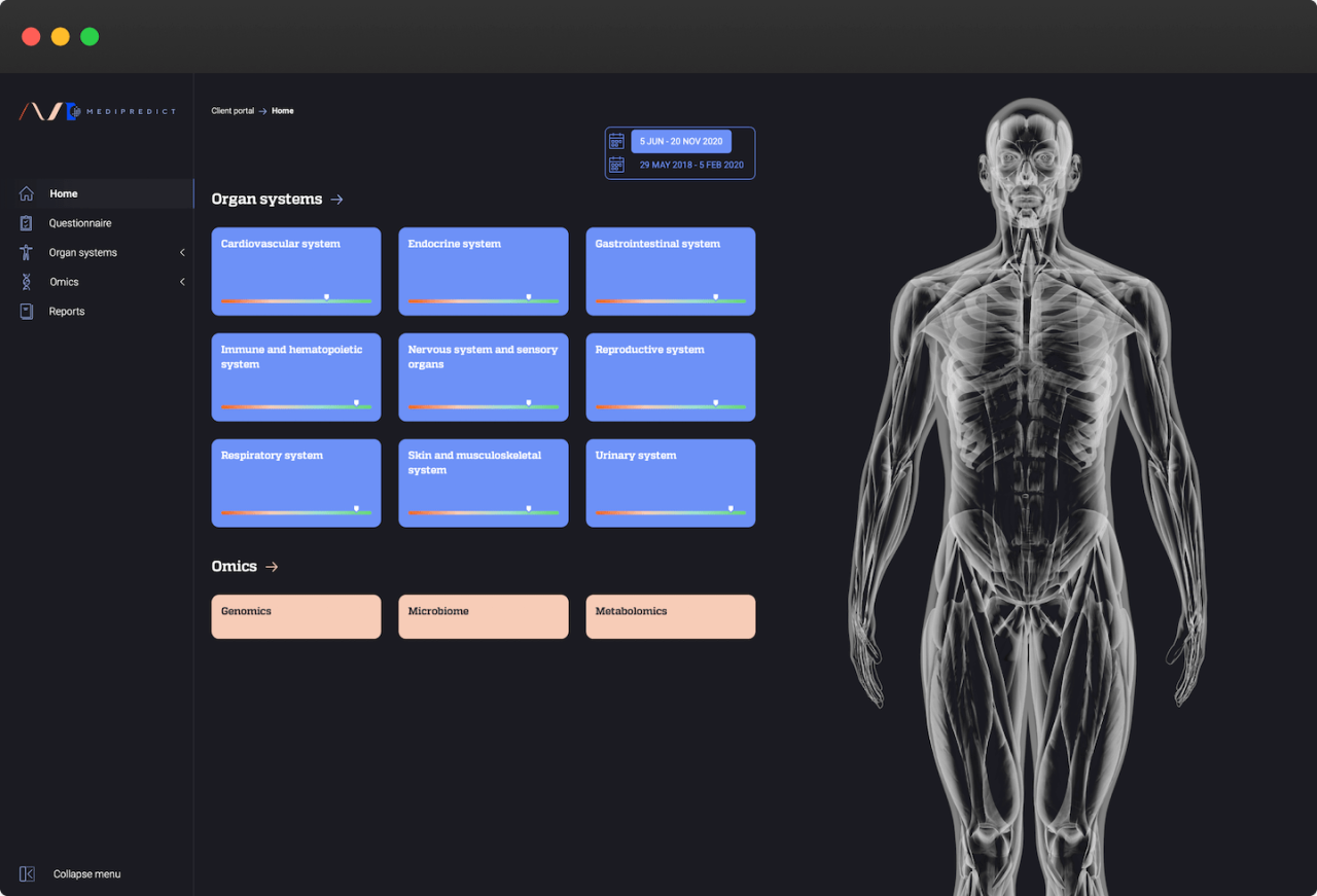A screenshot of Medipredict's application where details of the body are shown