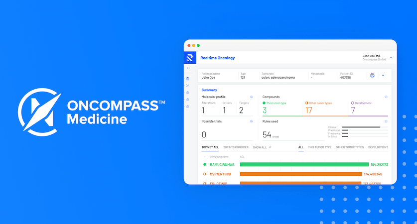 Oncompass Medicine logo and a screenshot of Realtime Oncology Treatment Calculator software.