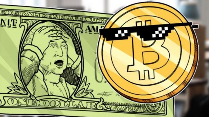 Биткойн обваливает доллар