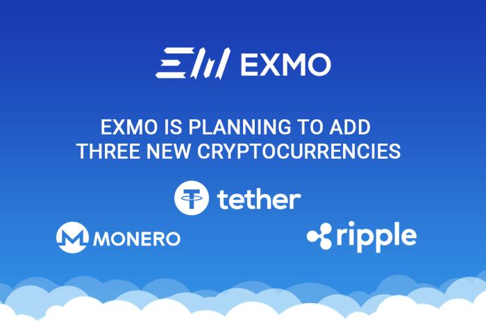 Криптобиржа «EXMO» добавила еще три криптовалюты
