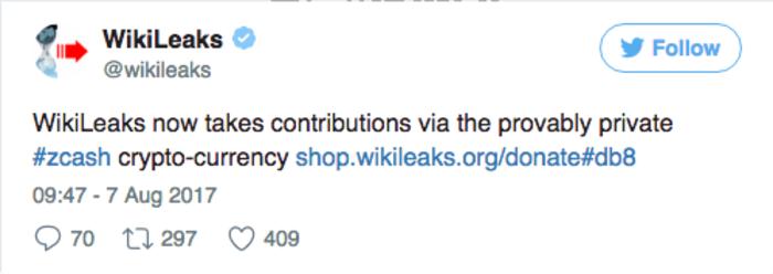 Wikileaks начала принимать пожертвования в Zcash