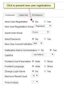 محدودکردن ثبت نام کاربران جوملا