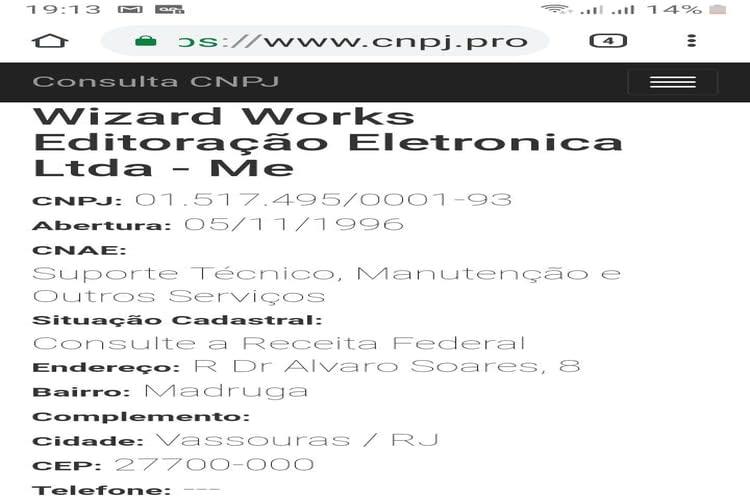 Empresa à venda em Vassouras/RJ - Empresa Aberta em 1996 Serviços de Suporte Técnico