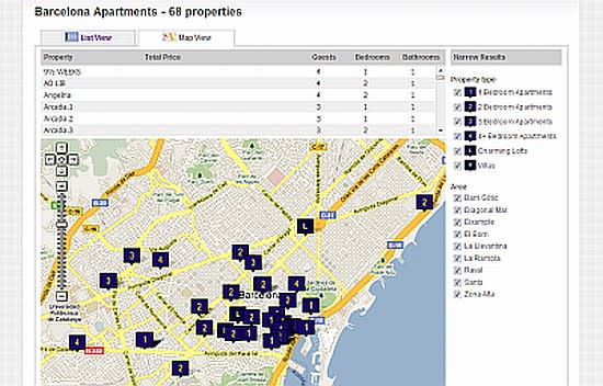 Map view of Barcelona rental apartments