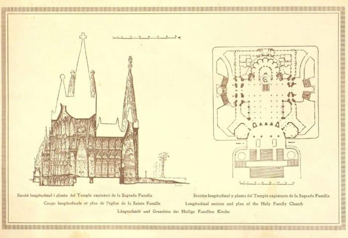 Plans for the Sagrada Família, sketched by Gaudí