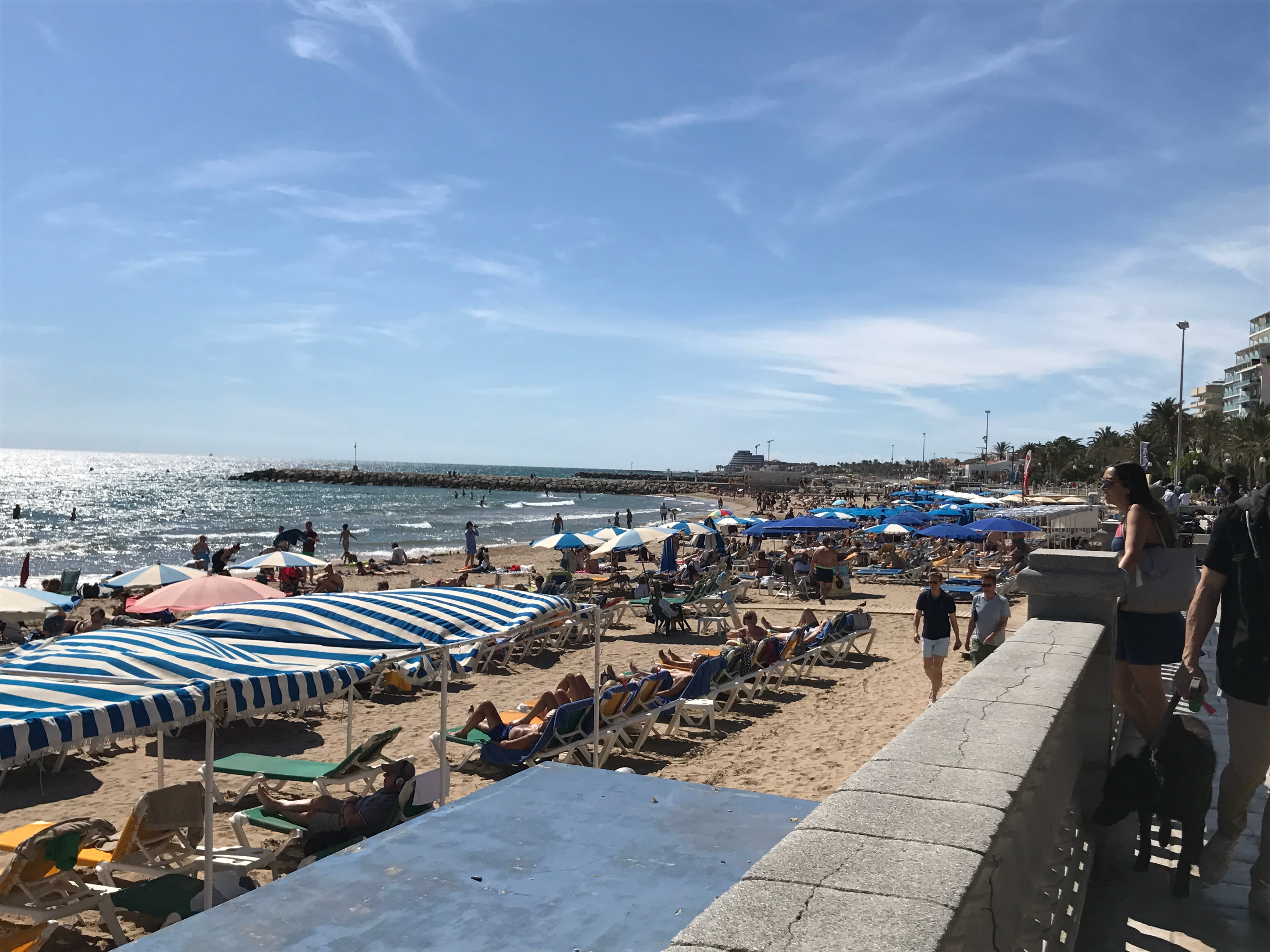 The beach in Sitges which you can visit on Barcelona Day trips