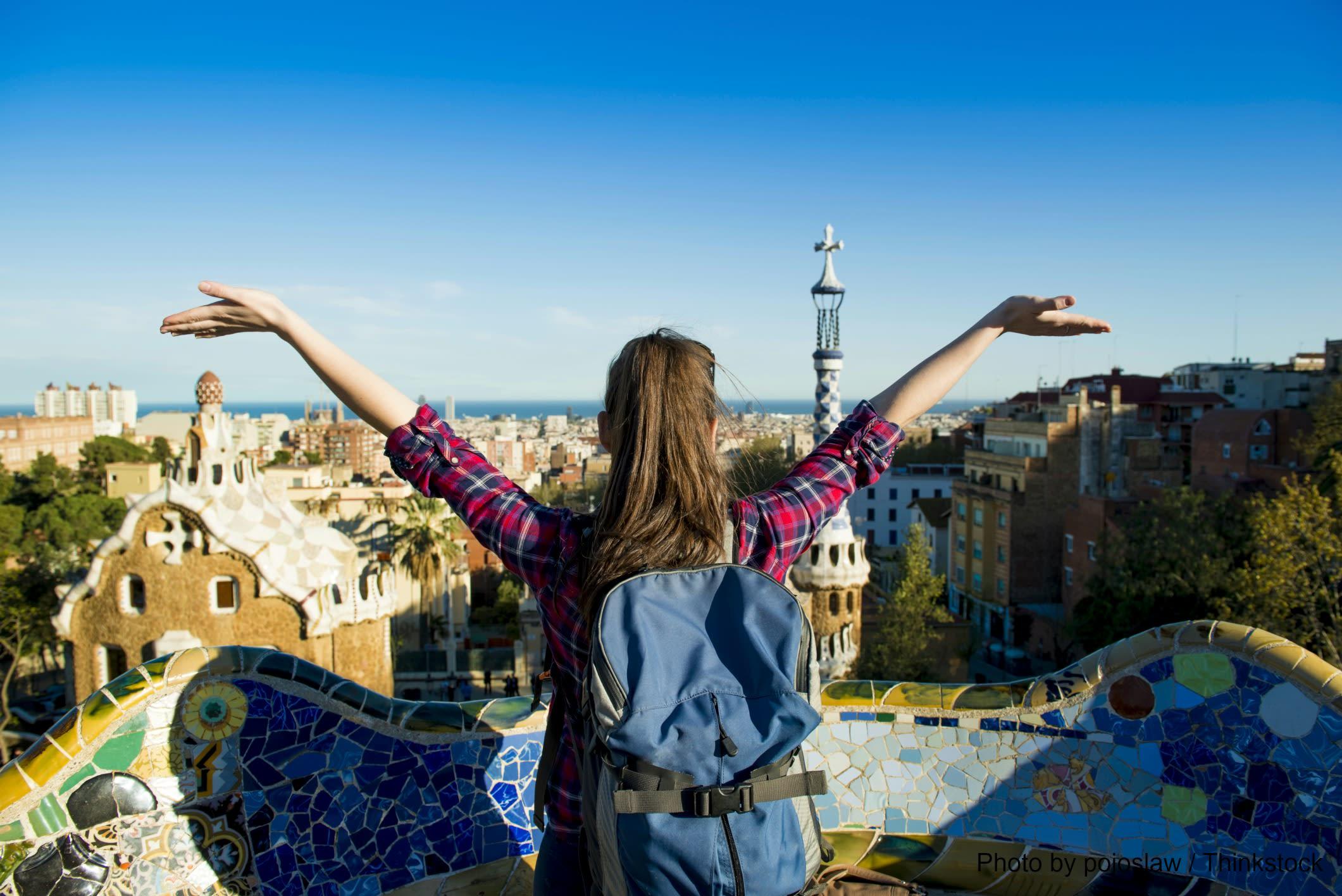 Tourist Enjoying a Barcelona Walking Tour