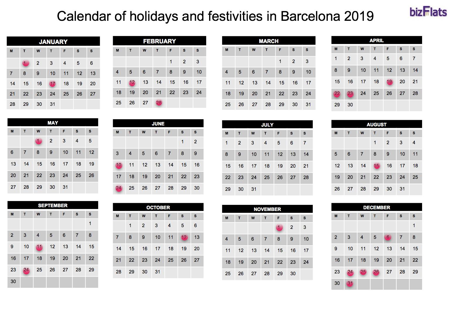 Calendar of Holidays in Barcelona