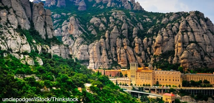 Panoramic view of Montserrat, with the Monastery at the base