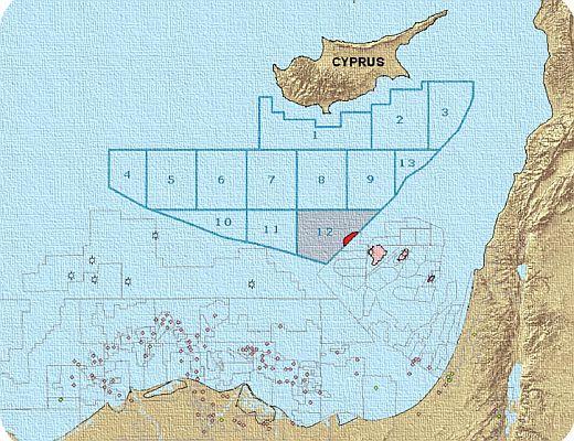 מפת רשיונות הגז בקפריסין; צילום: משרד האנרגיה הקפריסאי