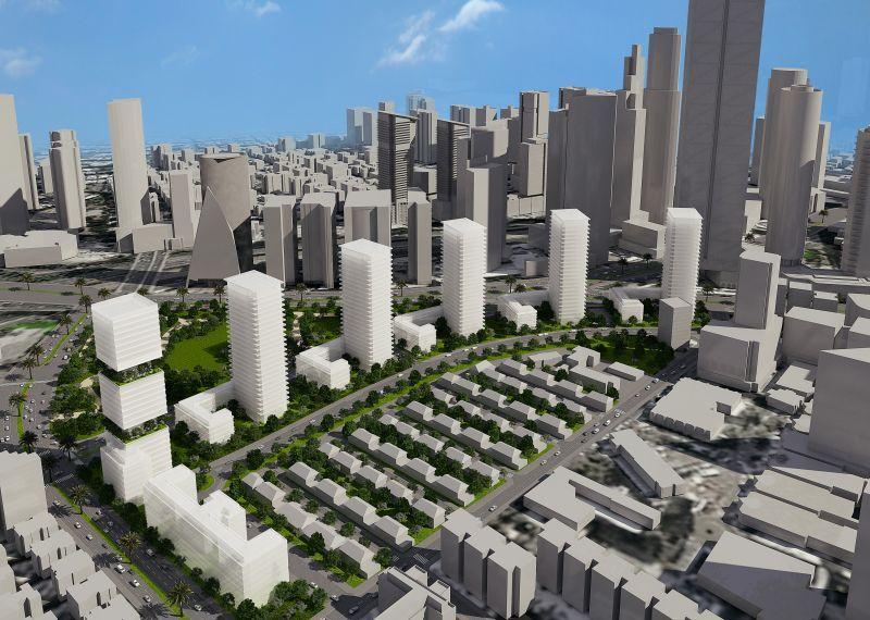 """האם מחירי הדירות בת""""א יירדו? הדמיית מתחם דפנה; קרדיט: ישר אדריכלים"""