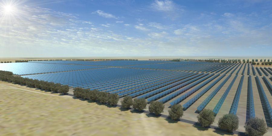"""הדמיית התחנה התרמו-סולארית; קרדיט: יח""""צ"""