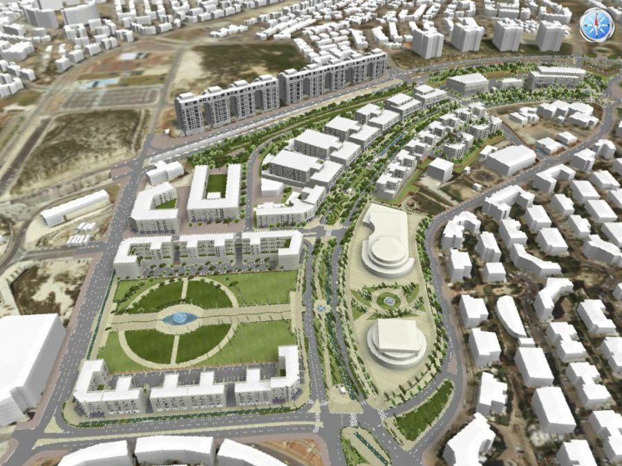 """מרכז העיר מלמעלה; קרדיט: יח""""צ"""