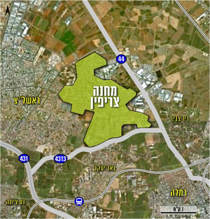 מפת מתחם צריפין; קרדיט: רשות מקרקעי ישראל