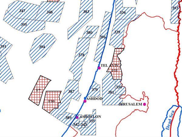 מפת זכויות הנפט - אתר משרד האנרגיה והמים