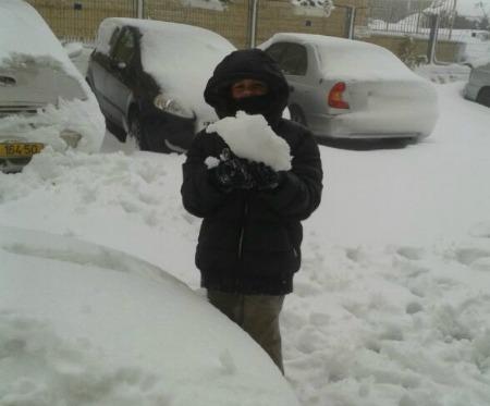 """יופה עושה """"טירונות"""" בעת הסופה. שלג בירושלים, דצמבר 2013"""