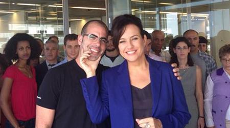 """עם צופית גרנט במהלך צילומי הקמפיין להסתדרות. יניב לוי (יח""""צ)"""