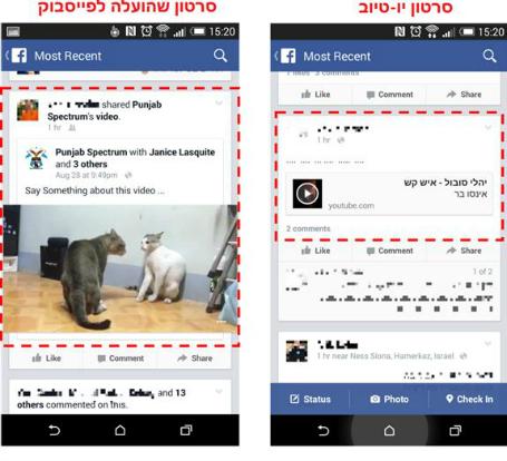 לינק יו-טיוב בפייסבוק מול סרטון שהועלה ישירות