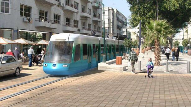 """הדמיית הרכבת הקלה בשד' ירושלים יפו, צילום: מתוך עמוד הפייסבוק של נת""""ע"""