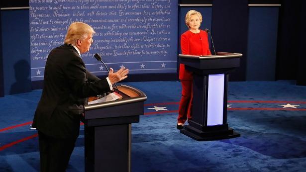 הילרי קלינטון ודונלד טראמפ בעימות הראשון, צילום: Getty images Israel