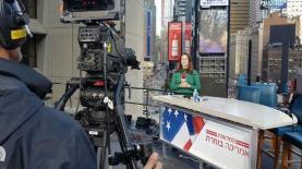 """יונית לוי באולפן 'חדשות 2' בניו יורק, צילום: יח""""צ"""