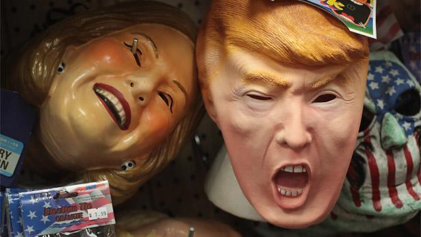 דונלד טראמפ והילרי קלינטון, גרסת חג ליל הקדושים, צילום: גטי אימג'ס ישראל