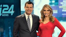 """i24news. דייויד שוסטר ומישל מקורי, צילום: יח""""צ"""