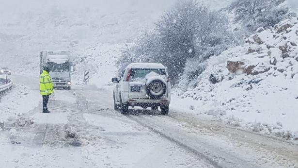 שלג רמת הגולן. 7 בינואר 2019, צילום: משטרה