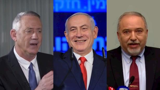 """אביגדור ליברמן, בנימין נתניהו ובני גנץ, צילום: יח""""צ, שרון רביבו"""