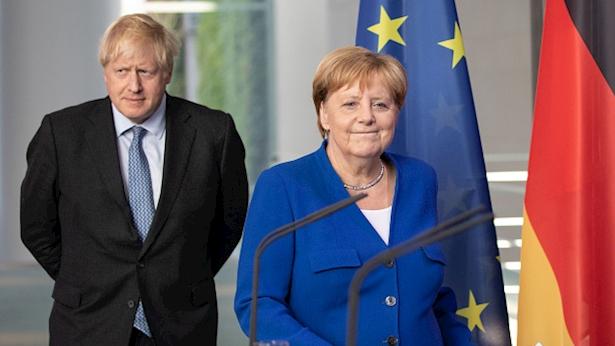 בוריס ג'ונסון ואנגלה מרקל, צילום: Getty Images Europe,  Omer Messinger, Stringer