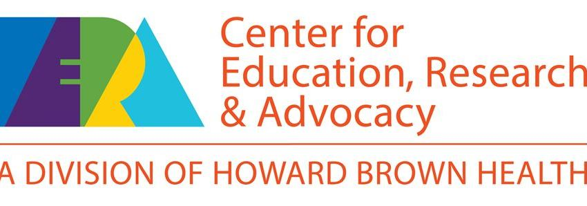 "Logo that contains block letters ""ERA"" in two shades of blue, purple, green, and yellow, and the words ""Center for Education, Research & Advocacy: A Division of Howard Brown Health"""
