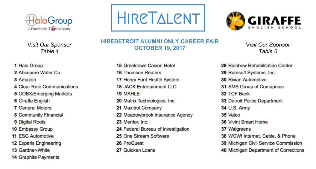 PAST EMPLOYERS | HireDetroit 2018 Alumni Career Fair