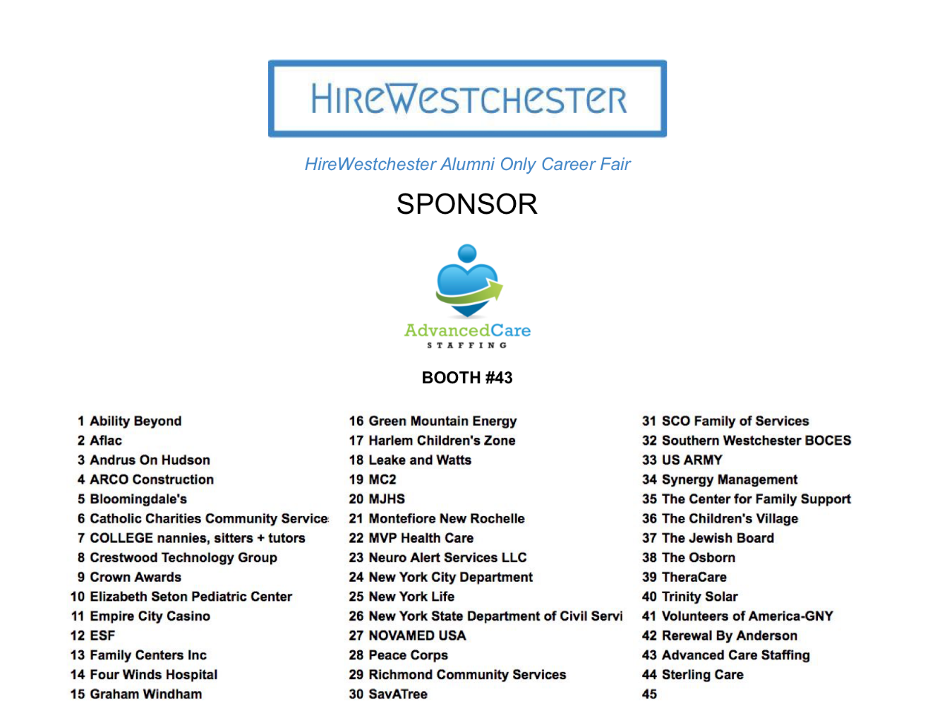 Past Exhibitors | HireWestchester 2019 Multi-School Alumni