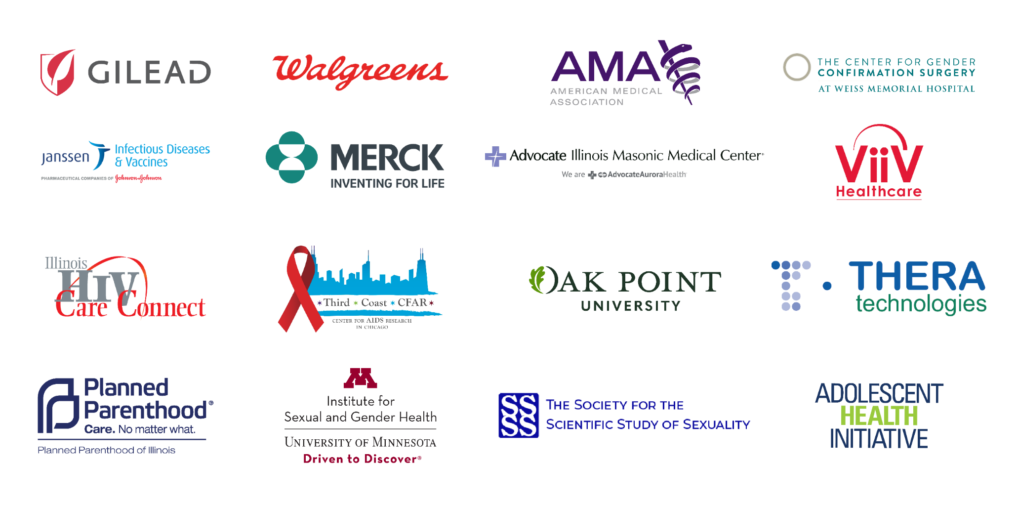 Stacked logos for Gilead, Walgreens, Weiss Memorial Hospital, HIV Care Connect, CFAR
