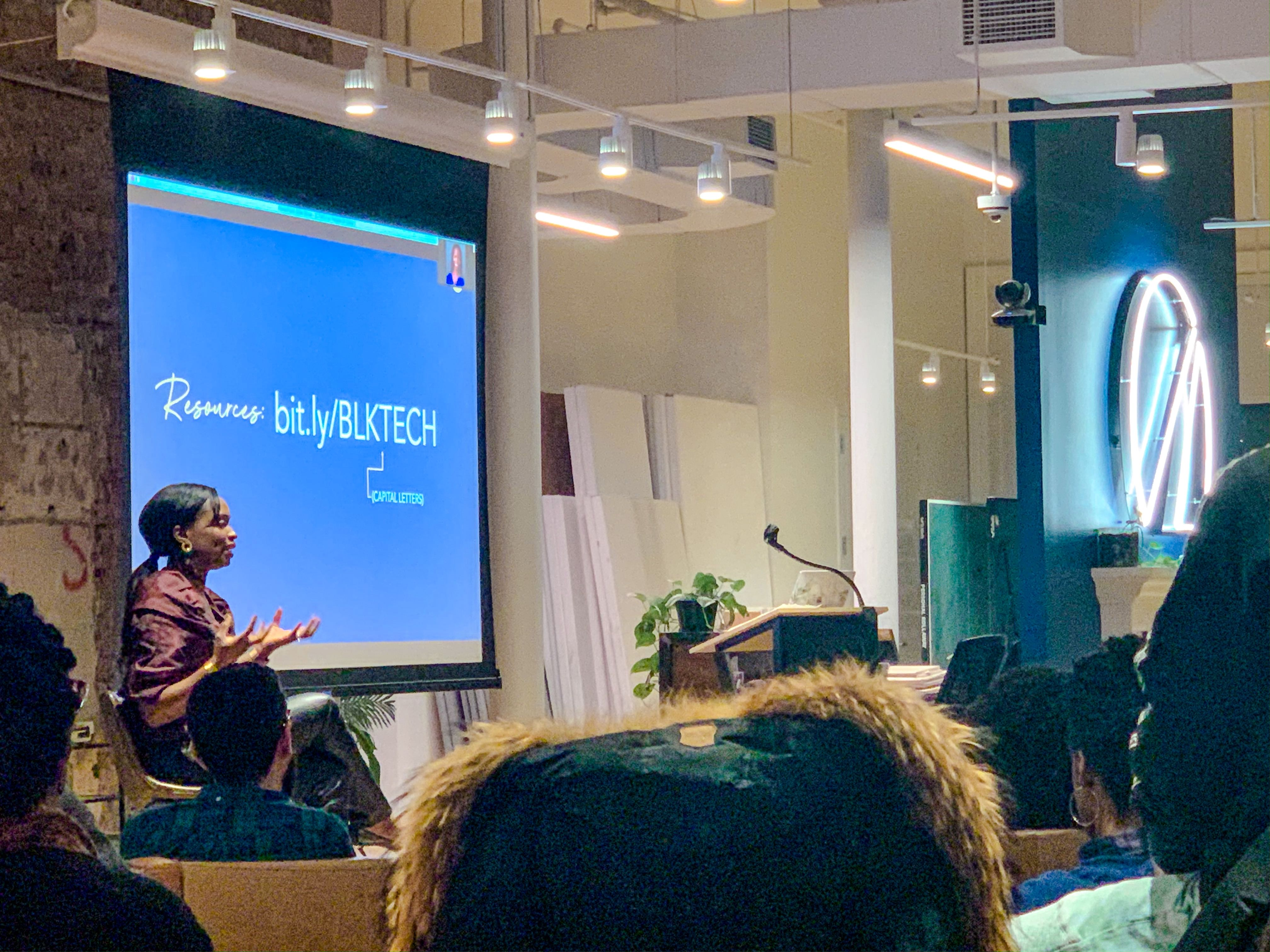 Kaya Ladejobi CFP, Financial Advice & Investment Manager, speaking at Diversifying Tech Meetup at Betterment HQ