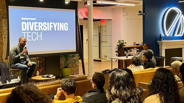 Dion Ridley, Engineering Leader at Netflix, speaking at Diversifying Tech Meeting at Betterment HQ
