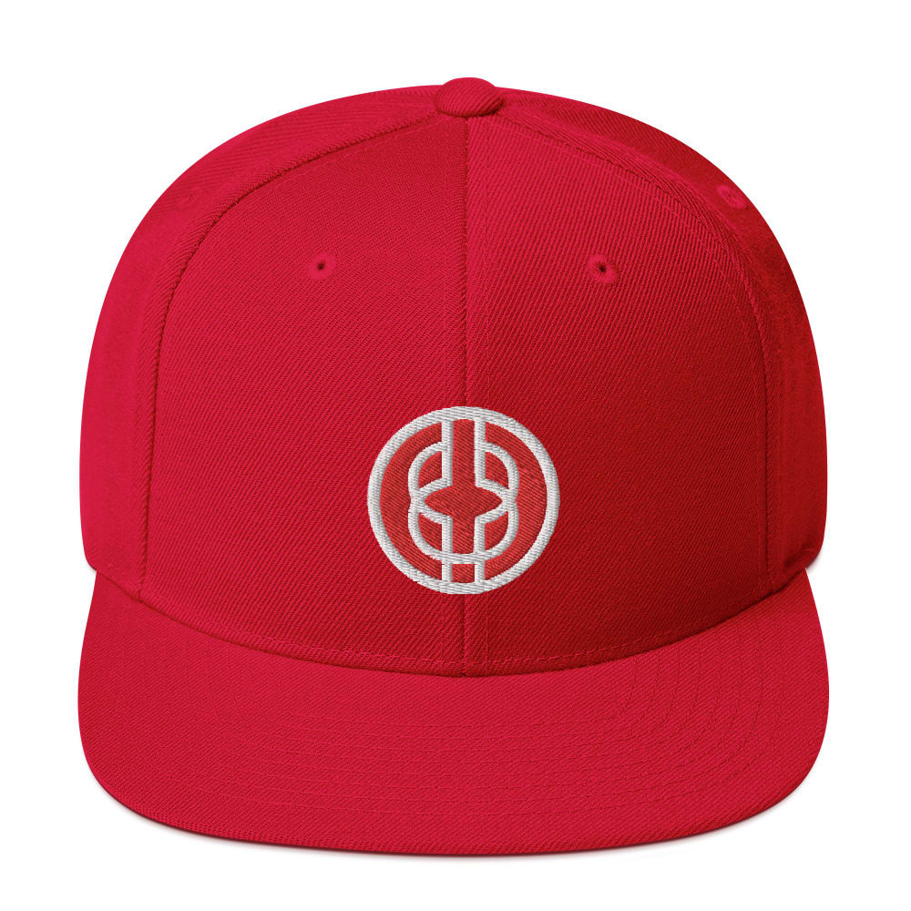 Black Knowledge Symbol Red Snapback Hat