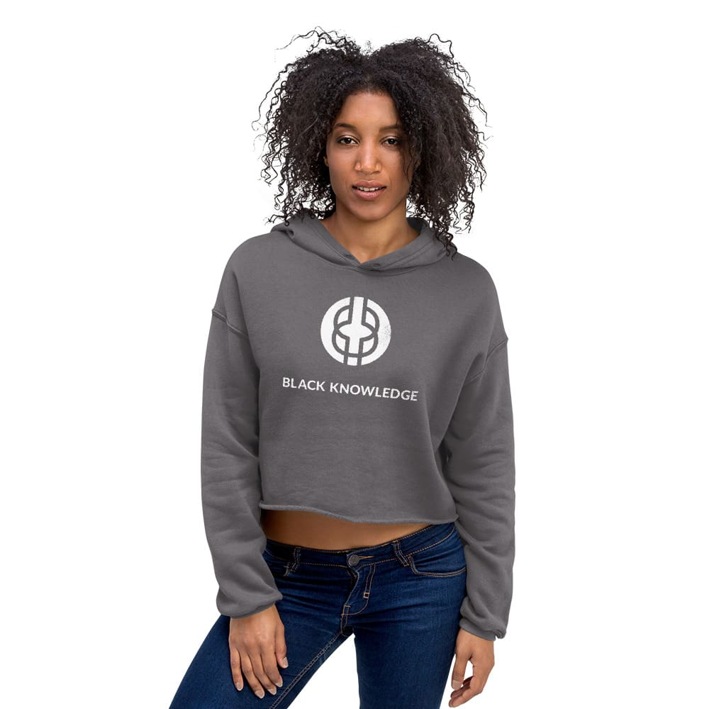 Black Knowledge Logo Crop Hoodie