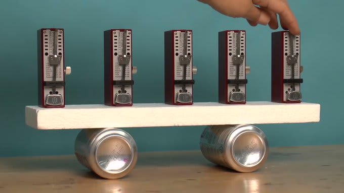 Out of sync metronomes slowly synchronise spontaneously