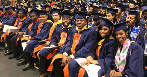 Morgan State University students at commencement