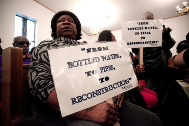 Protester during Jesse Jackson-led National March in Flint