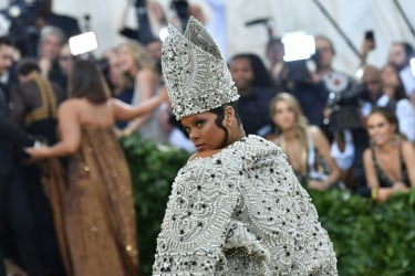 Rihanna arrives for the 2018 Met Gala on May 7, 2018, at the Metropolitan Museum of Art in New York.